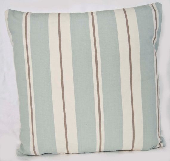 Duck Egg Blue Throw Pillow Cover 16 ins UK Design  Duck Egg Blue Grey Cream Stripe Cotton Fabric