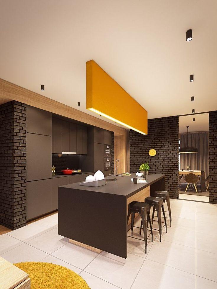 décoration-colorée-cuisine-mur-brique-armoires-îlot-marron-chocolat-luminaire-linéaire-jaune