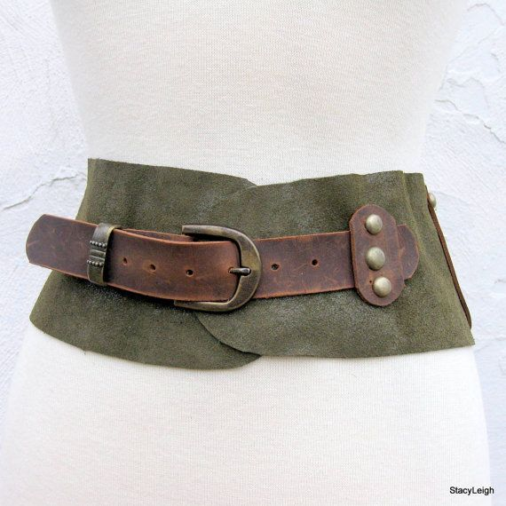 Old World Leather Belt in Hunter Green Iridescent by stacyleigh, $95.00