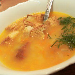 Суп-пюре гороховый, с копченостями и гренками