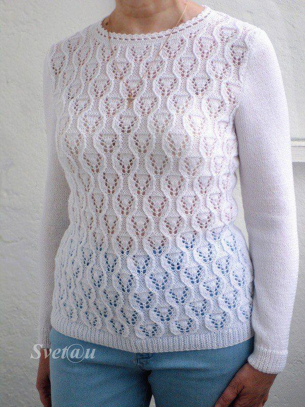 Красивый белый пуловер спицами. Женский пуловер с красивым узором спицами | Домоводство для всей семьи.