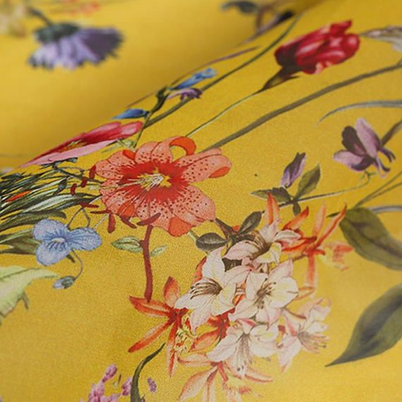 782a27d678431 Yellow Silk Chiffon Fabric With Small Floral Print By the Yard ...