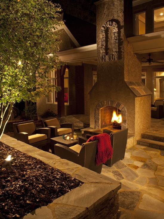 Outdoor See-thru Fireplace.  Have seating areas on each side of fireplace for two different conversation pits.  From J'Neil Bryson Landscape Architecture.