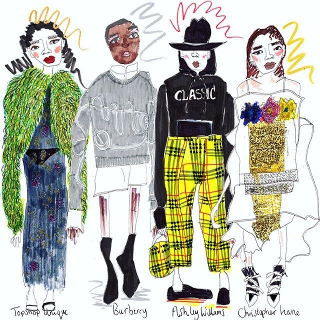 Illustrating some of @thedebriefuk favourite looks from London Fashion week! #thedebrieflfw #londonfashionweek #lfw17 #lfw #fashionweek #fashion #illustration #fashionillustrator #fashionillustration