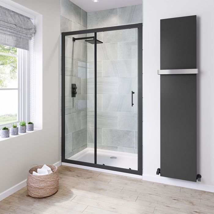 1200mm 6mm Black Frame Sliding Shower Door Slidingshowerdoors 1200mm 6mm Black Frame Sliding Shower Do Shower Doors Black Shower Doors Sliding Shower Door