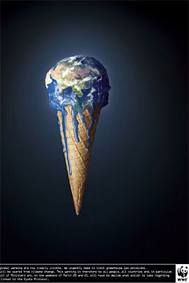 the constrained visual language is shown through this image through the figure of ice cream is represented with the cone figure. Also the substitution of earth as the ice cream provides the visual perception of what is happening to earth now which is no other than global warming.