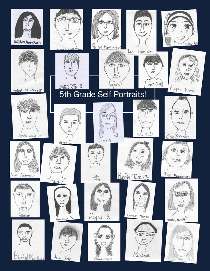 Self portraits - Great for an elementary school yearbook!