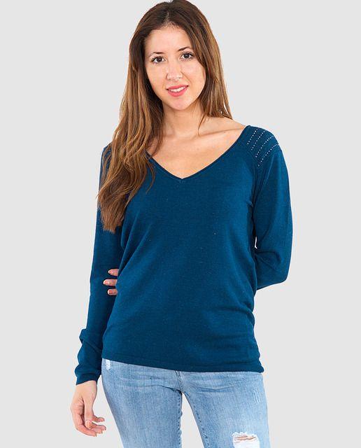 Jersey de mujer Naf Naf con escote pico y strass