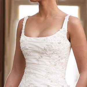 Squared neck-great site on the different necklines of wedding gowns.