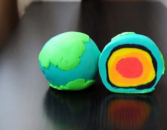 "Montessori School of Denver in Colorado, has a board called ""Culture: Science, Zoology, Geography.."" There are some fabulous pins and ideas on this board. We fell in love with this simple playdoh depiction of the earth crusts and layers! Earth Day, geography"