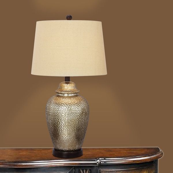 275 Inch Antique Brown Mercury Glass And Oil Rubbed Bronze Metal Table Lamp