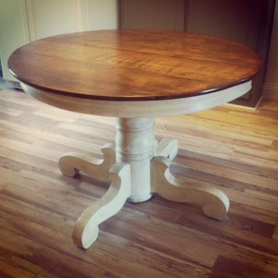 Beautiful Painted Pedestal And Stained Surface (for My Breakfast Table Refurb!