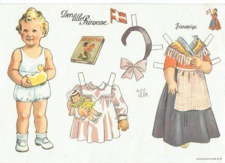 Den lille Prinsesse påklædningsdukke fra 1943. Motiv til invitation