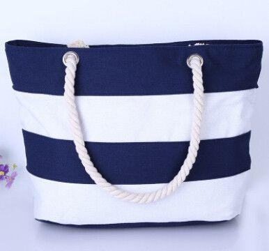 2017 Women Beach Canvas Bag Fashion Color Stripes Printing Handbags Ladies Large Shoulder Bag Totes Casual Shopping Bag LS569