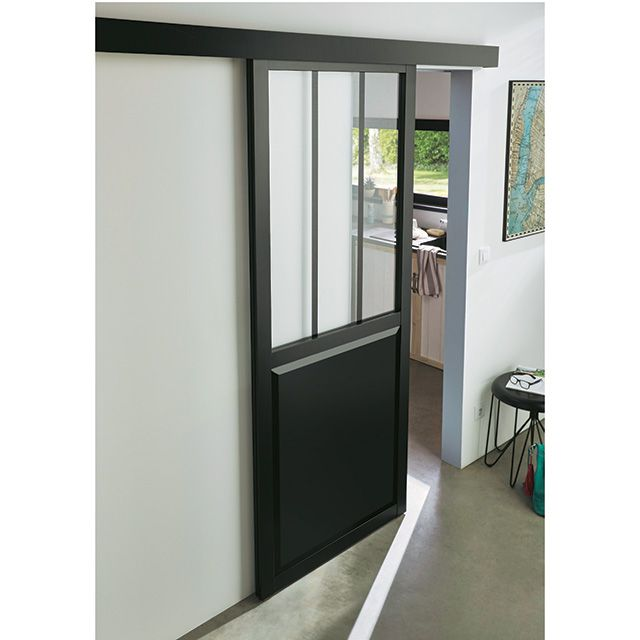 Porte coulissante Atelier noire 83cm + système en applique - CASTORAMA
