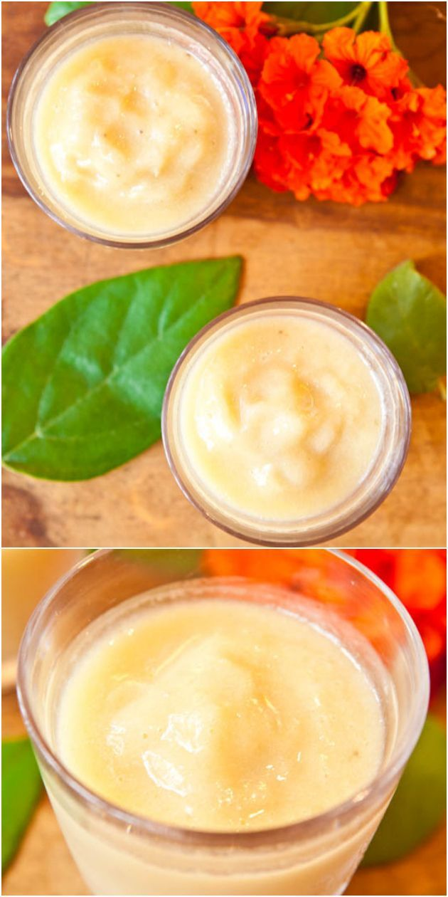 Pineapple Banana & Coconut Cream Smoothie (vegan, GF) - Tastes like a virgin pina colada. Sweet, creamy, refreshing & healthy! No need to add sugar since the fruit is sweet enough!