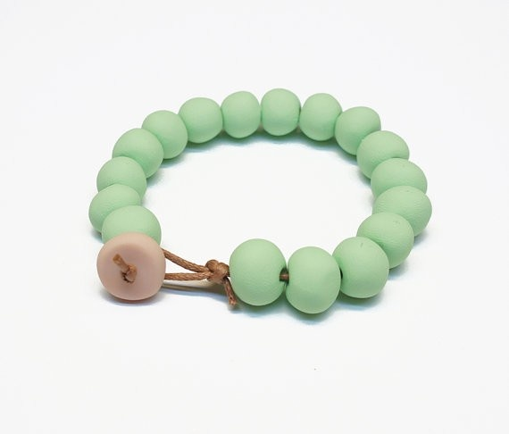 Handmade Classic Round Bead Bracelet - Great for Layering - Mint - by enaandalbert on madeit