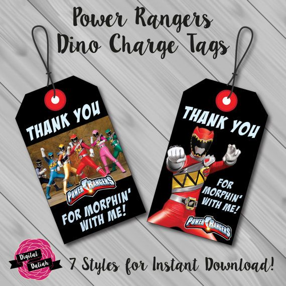 Power Rangers Dino Charge Thank You Favor/Favour Tags  This listing includes a DIGITAL file for Power Rangers Dino Charge luggage style Thank You