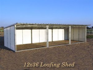 12 by 36 Loafing Shed (sale page). This expandable Shelter is 12' deep and can be made to whatever width you desire in 12' increments. It includes an additional 2' roof overhang in the front. This shelter is 8' high at the front and slopes down to 7' high at the back. A 6' Side Feed Room can also be added to any Loafing Shed. Sold as a frame-only kit (does not include wood). Noble shelters must be anchored (see Anchor Kit).
