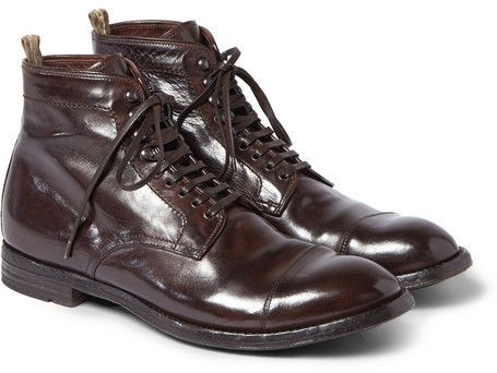 $725, Officine Creative Anatomia Glossed Leather Boots. Sold by MR PORTER. Click for more info: https://lookastic.com/men/shop_items/343058/redirect