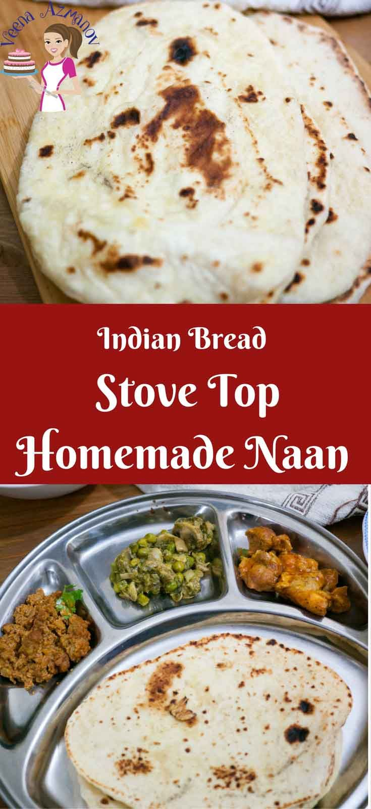 This Homemade Naan is an absolute treat. Simple, easy and delicious laden bread to eat with any Indian curry. Add some butter for butter naan, a few crushed garlic cloves for a garlic naan twist or simply sprinkle with pretty nigella seeds. #Naan #Homemade #stoveTop #cooking #NaanBread #GarlicNaan #ButterNaan #NigellaNaan
