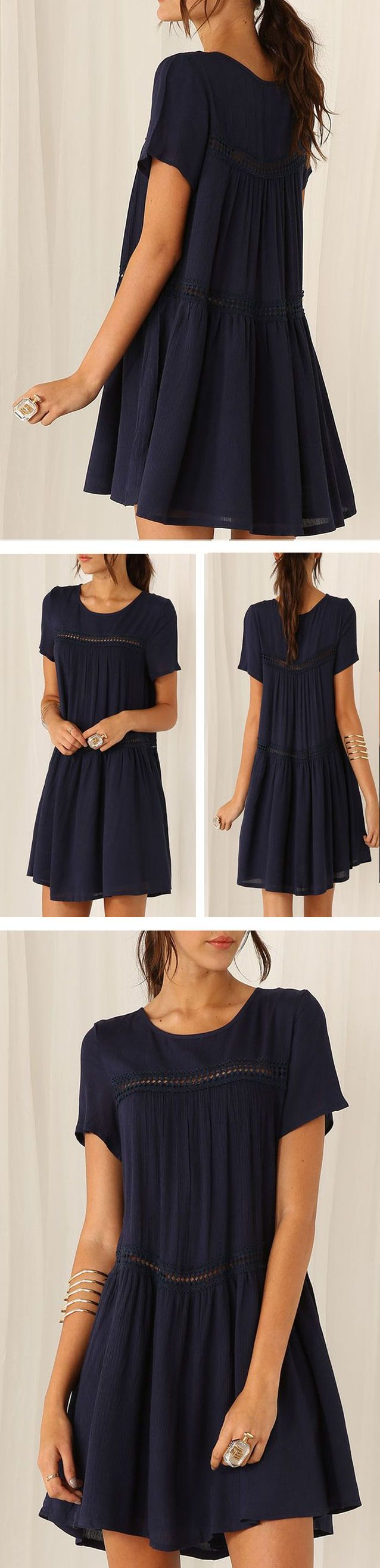 Navy Short Sleeve Shift Dress ❤︎