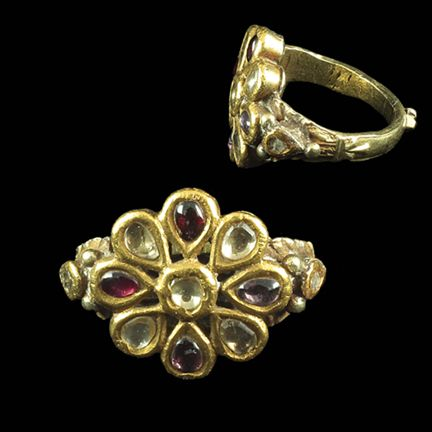 A Diamond And Ruby Flower Ring, South India Early 19th Century www.ollemans.com SOLD