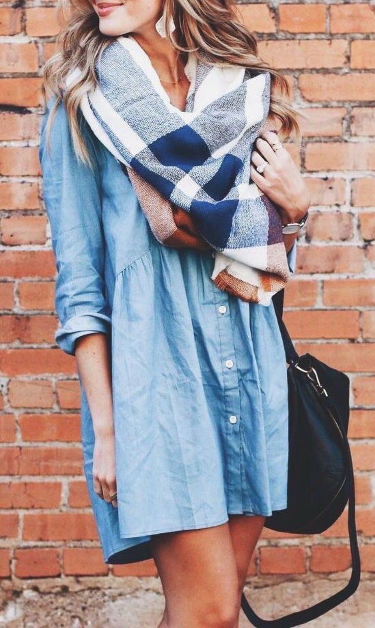 Chambray dress + plaid scarf.