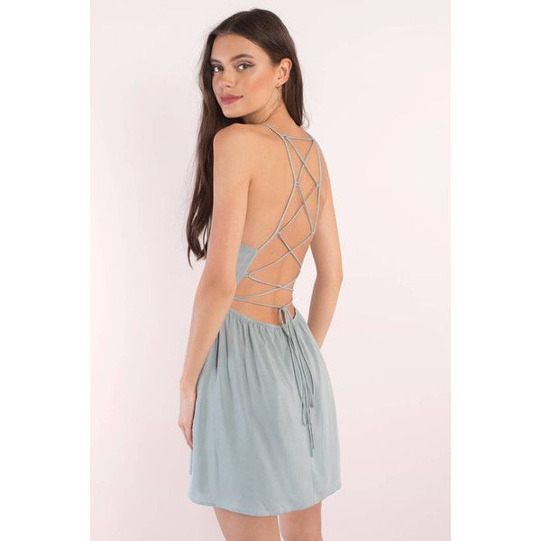Tobi Sarah Strappy Back Skater Dress (£43) ❤ liked on Polyvore featuring dresses, light blue, light blue skater dress, pink dress, strappy dress, strappy skater dress and light blue dress