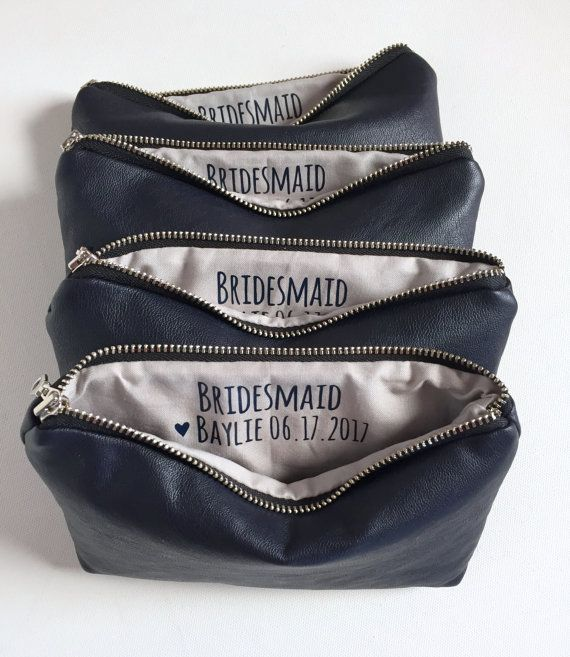 Four Navy Makeup Bags w. Custom Messages // by ShopSandraSmith