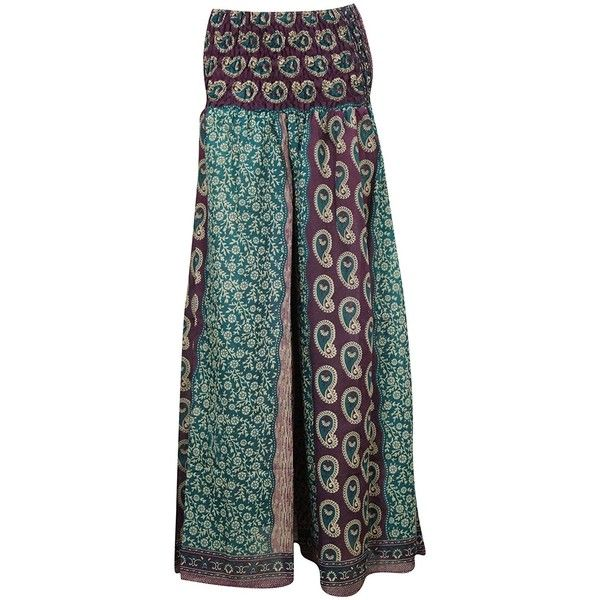 Mogul Women's Floral Hippie Skirt Silk Sari Split Long Maxi Skirts... ($28) ❤ liked on Polyvore featuring skirts, maxi skirts, floral print maxi skirt, green maxi skirt, long green skirt and floral maxi skirts