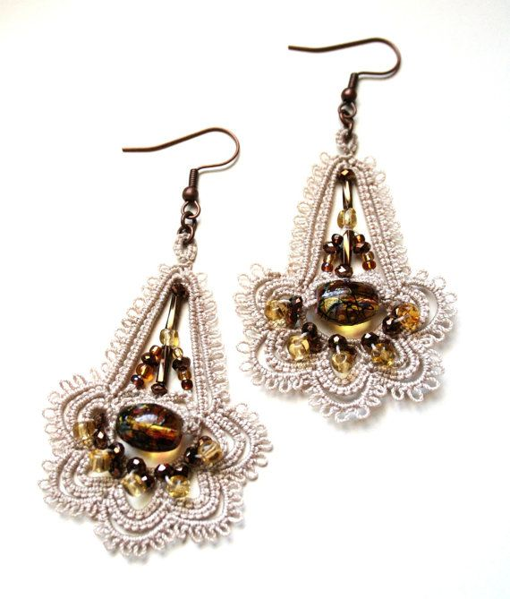 MochaTatted Beaded Chandelier Dangle Earrings by KnotTherapy, $26.00