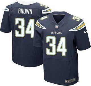 Men's NFL San Diego Chargers #34 Brown Dark Blue Elite Jersey