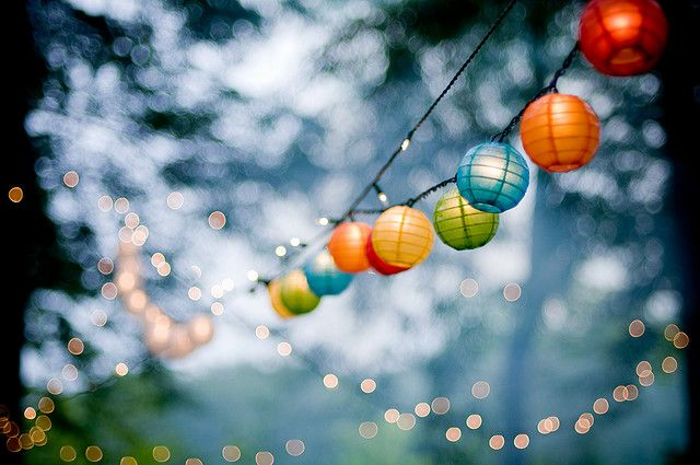 Tiny fairy lights and lanterns