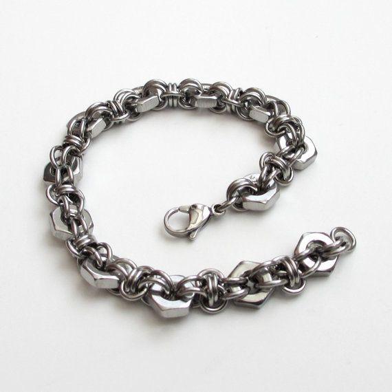 Bracciale in acciaio chainmail & esagonale di TattooedAndChained