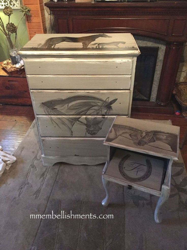How She Updated a $20 Dresser Into Equestrian Art Using Stain!