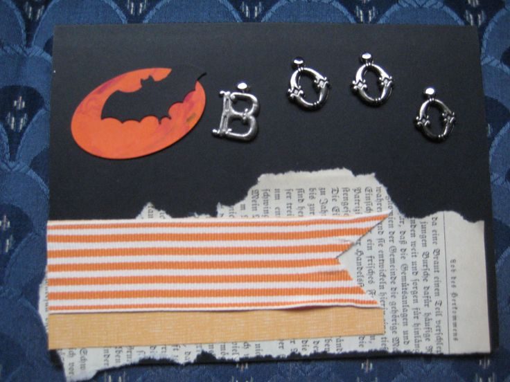 hand marbled oval moon, letter brad booo, stampin up mini bat and ribbon, rescued gothic book page CAS