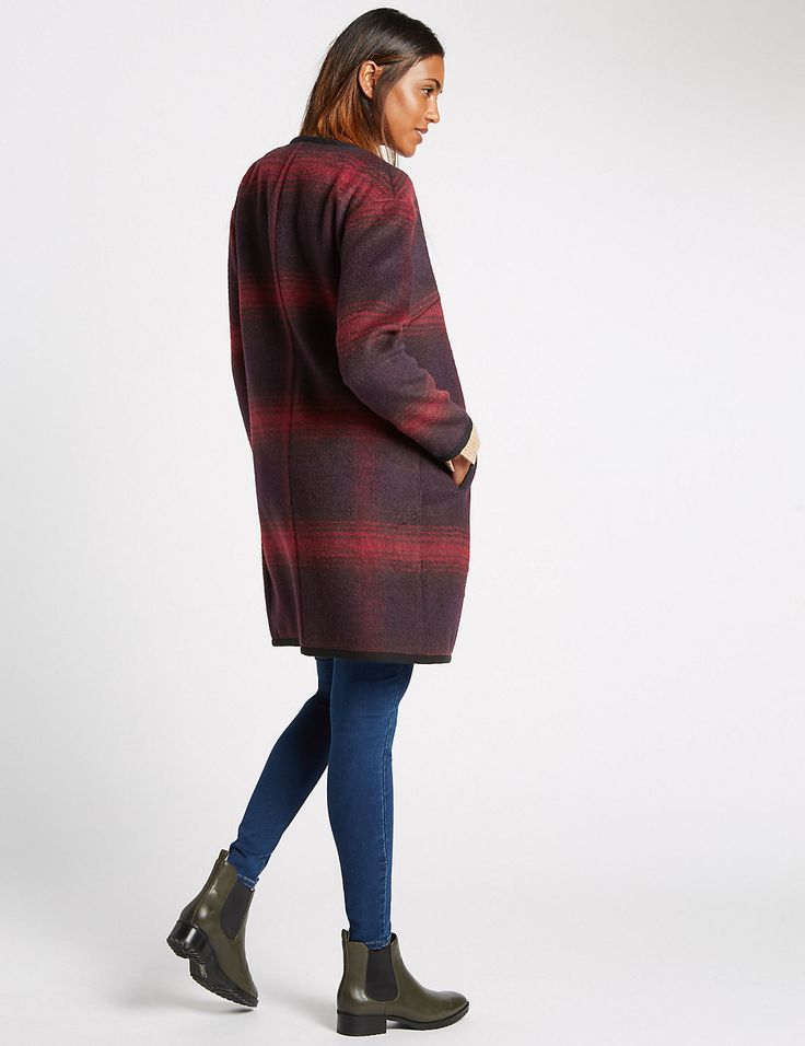 Crew Neck Checked Coat http://www.sizestyler.co.uk/product/buy/ms-collection-crew-neck-checked-coat-16021547