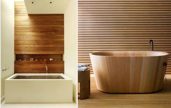 houten muren badkamer