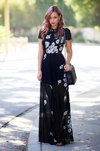 Women's Black and White Floral Maxi Dress, Burgundy Studded Leather Ballerina Shoes, Black Quilted Leather Crossbody Bag