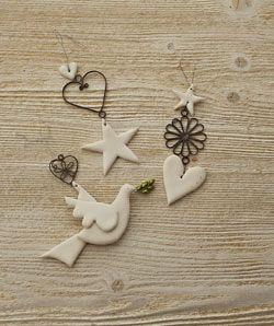 Ceramic and Metal Hanging Dove
