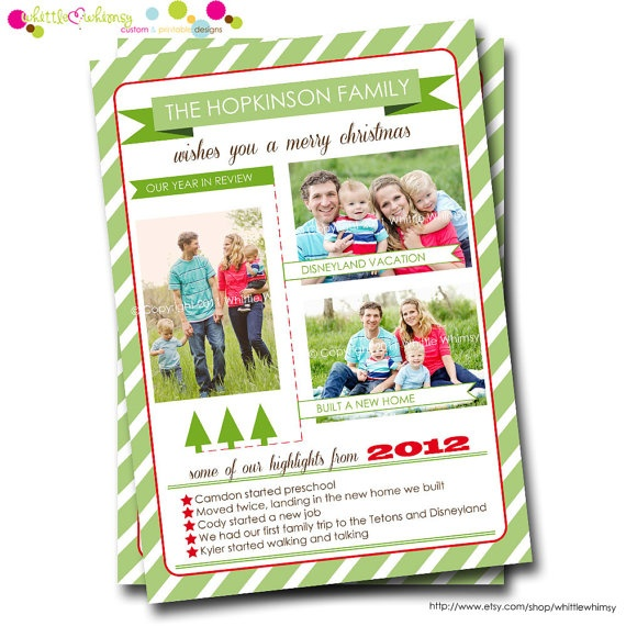 Our Year in Review Striped Holiday Christmas Photo Card