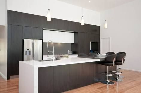 modern kitchen with two colour laminate cupboards - Google Search