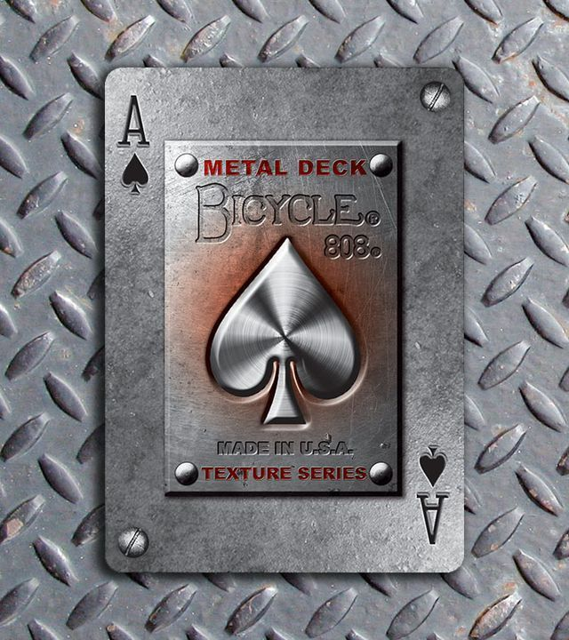 Bicycle Metal Deck Ace of Spades | more here: http://playingcardcollector.net/2014/10/02/bicycle-metal-deck-by-max/