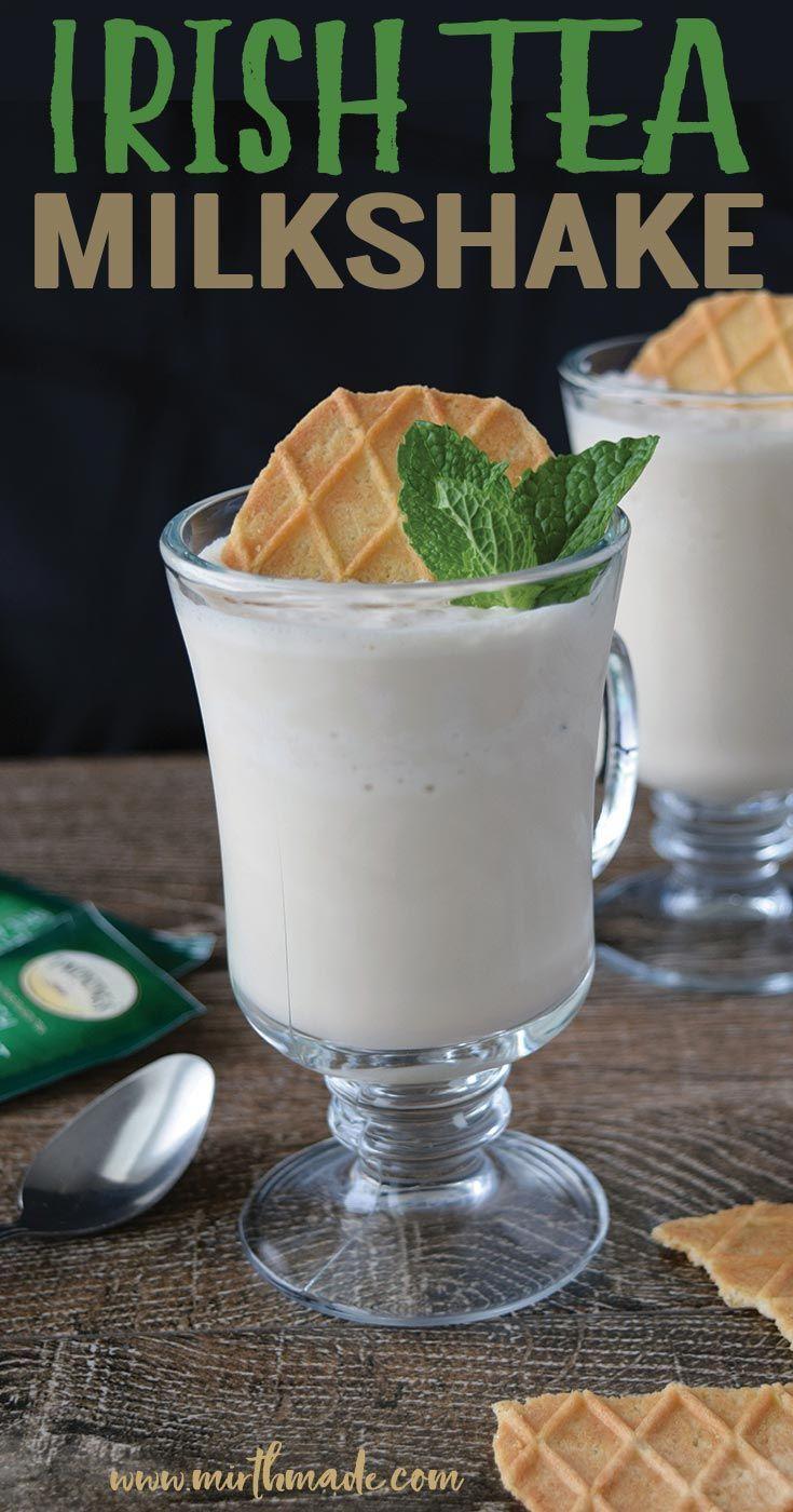 This Irish Breakfast Tea Milkshake is the perfect easy dessert for your St. Patrick's Day Celebrations.  #milkshake #irish #tea