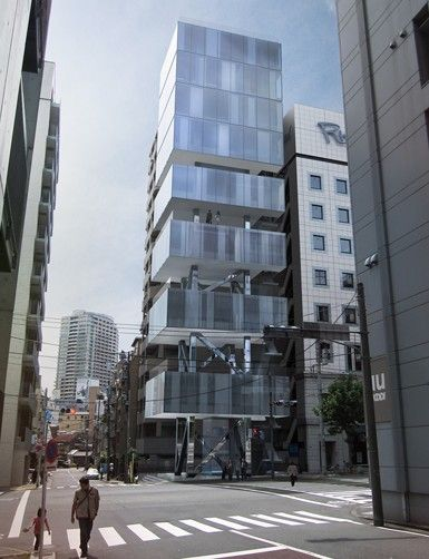 Front Office, Tokyo.  Located in Higashi-Azabu, within walking distance of a cluster of rail lines, Shiba Park and Tokyo Tower, the corner site is small, covering only 130 sq m and is constrained by a floor area ratio that limits construction to 8 floors.
