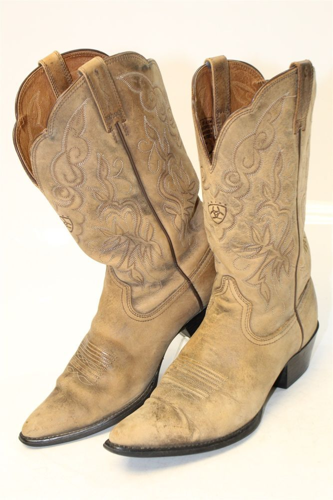 93e1d80e724 Ariat Heritage Womens 9 B 40 M Beige Leather Cowboy Western Boots ...