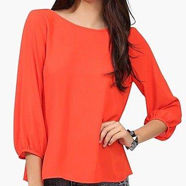 All-Match Solid Color Chiffon Blouse - USD $ 73.27