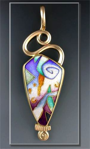 """""""Pathway Of Universal Trust"""" - 2003.    Cloisonné Enamel Pendant, Forged & Fabricated"""