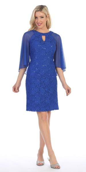 a6325e4b30 Slip into this glamorous short cocktail dress made of lace by Celavie 6352S  in royal blue. This sheath silhouette party dress has an attached sheer  caped ...